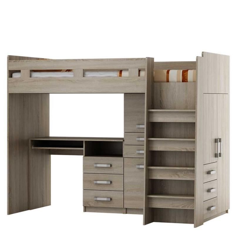 Łóżko piętrowe z biurkiem PTR