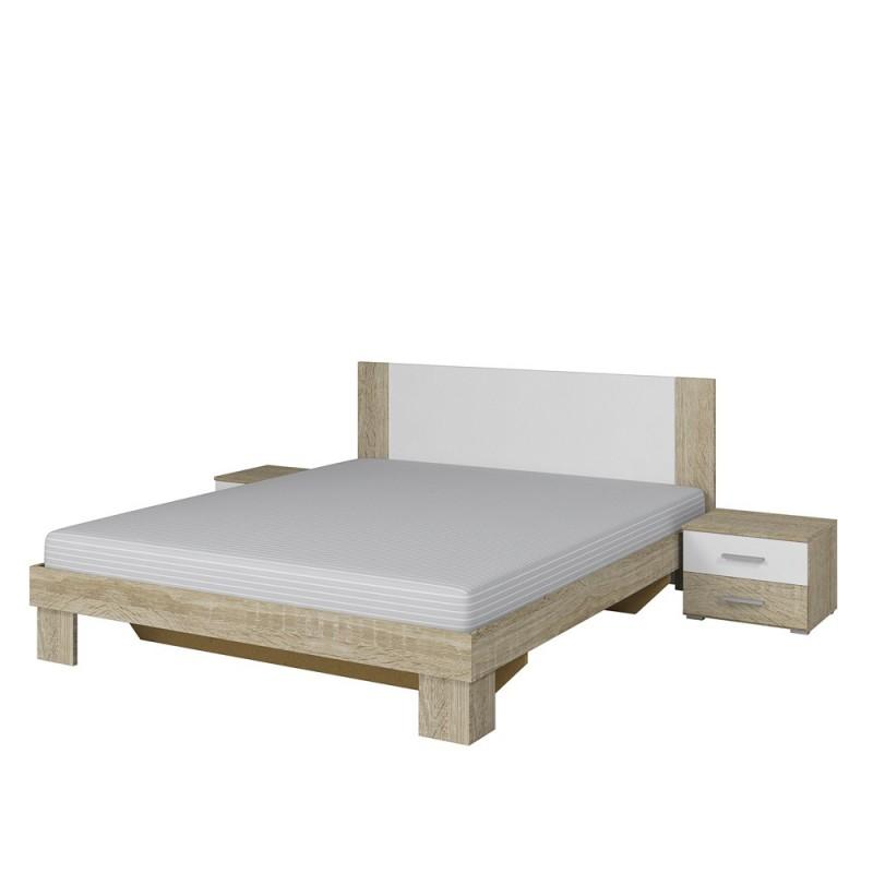 Łózko VERA ze stolikami nocnymi dąb sonoma+biały