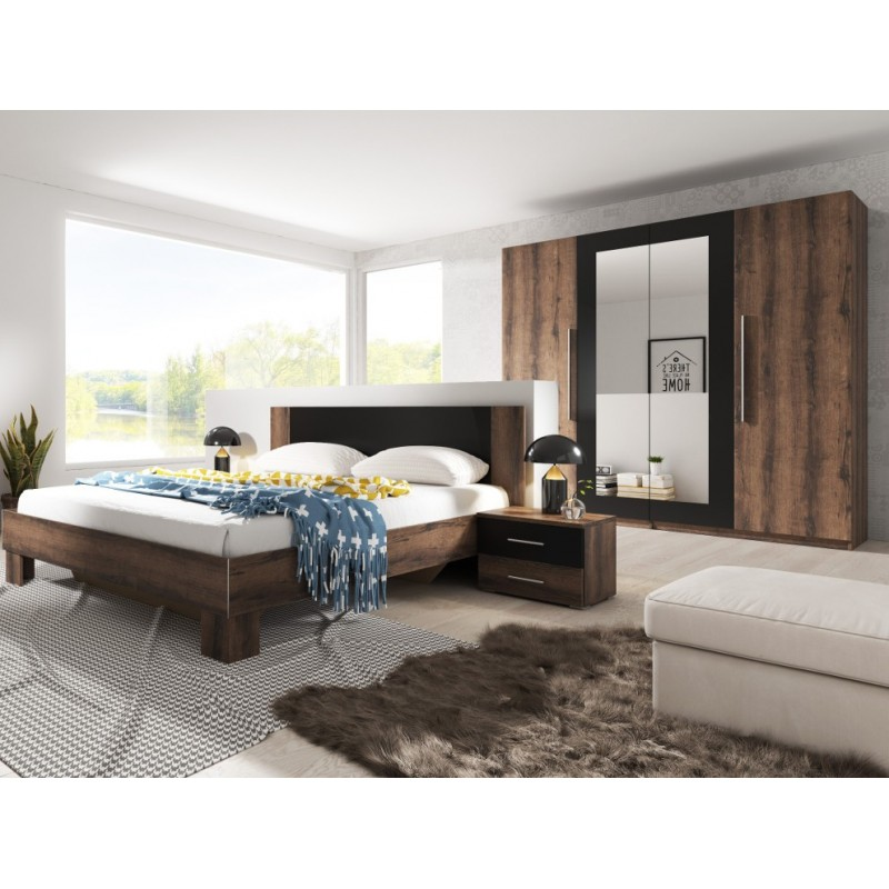 Sypialnia VERA II biały + czarny orzech