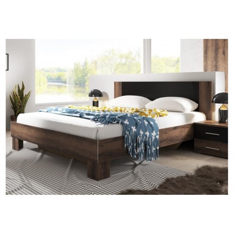 Łóżko z dwoma stolikami VERA biały + czarny orzech