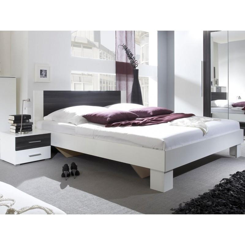 Łóżko VERA ze stolikami biały + czarny orzech