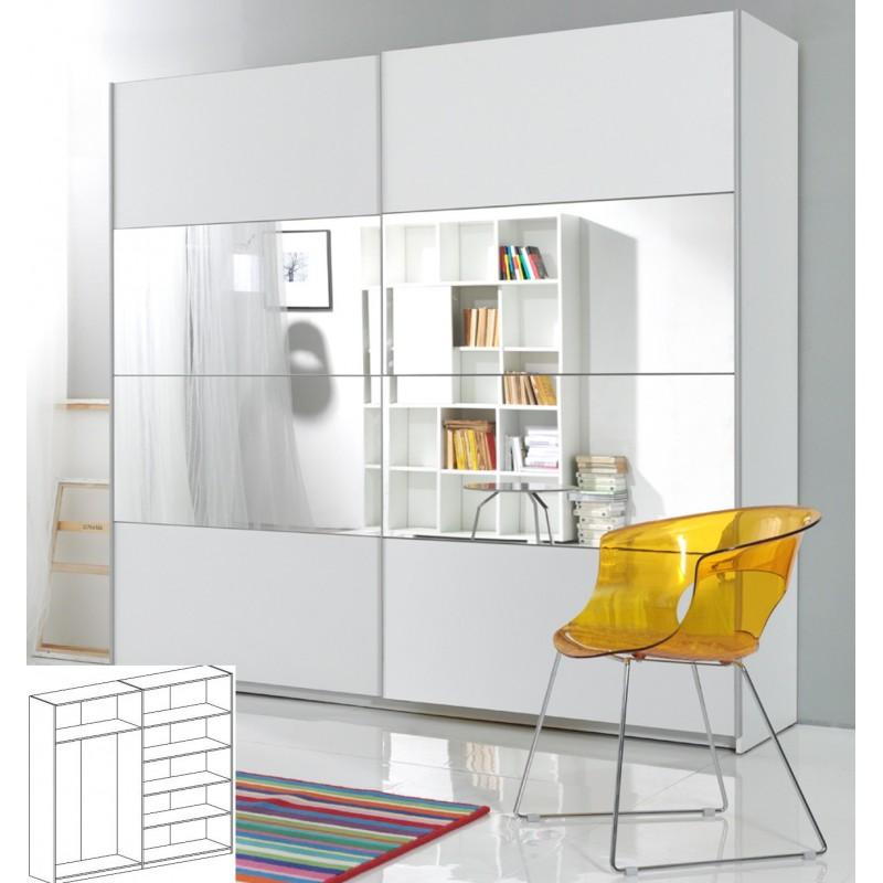 Szafa BETA biały + biały - lustro