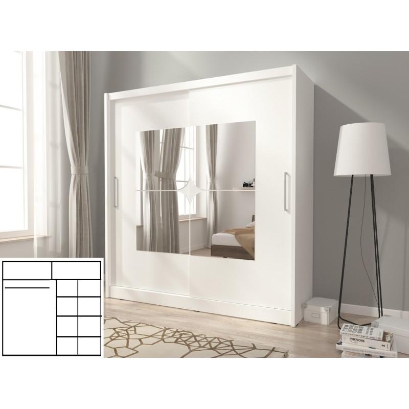 Szafa KAJA VII 200 biała z lustrami